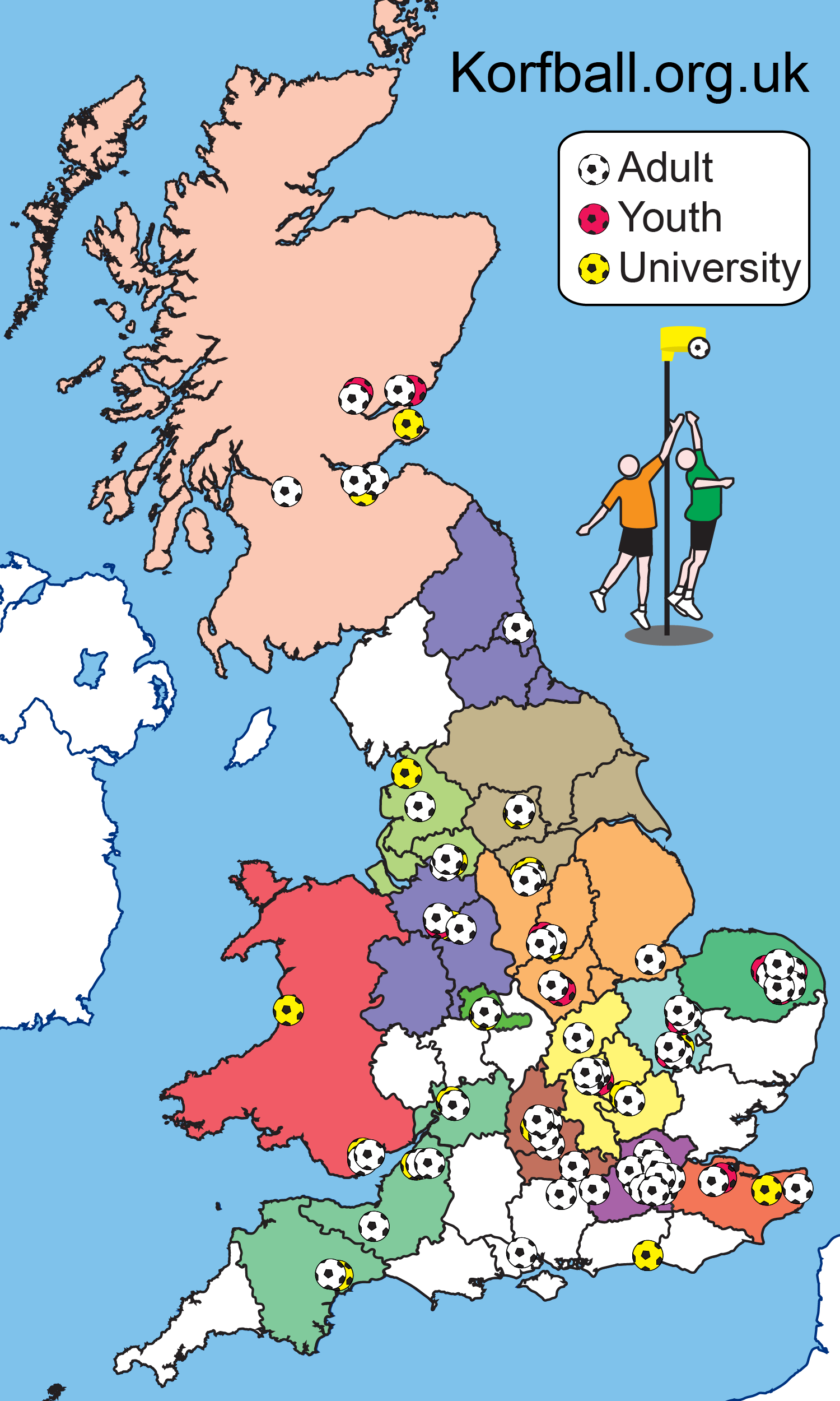 map of UK korfball clubs and areas