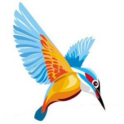 Kingfisher Bird Logo on electric fish